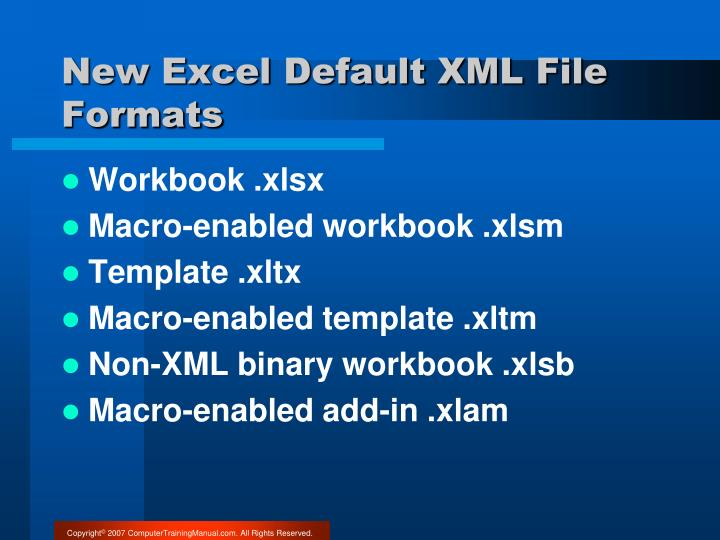 New Excel Default XML File Formats