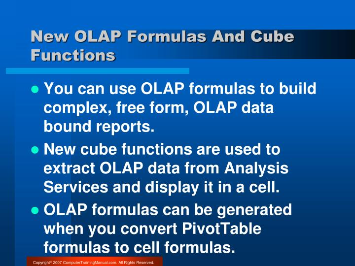 New OLAP Formulas And Cube Functions