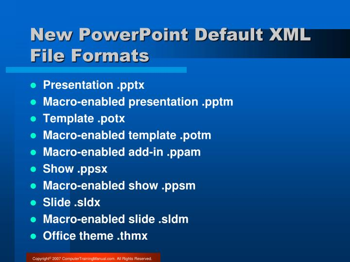 New PowerPoint Default XML File Formats