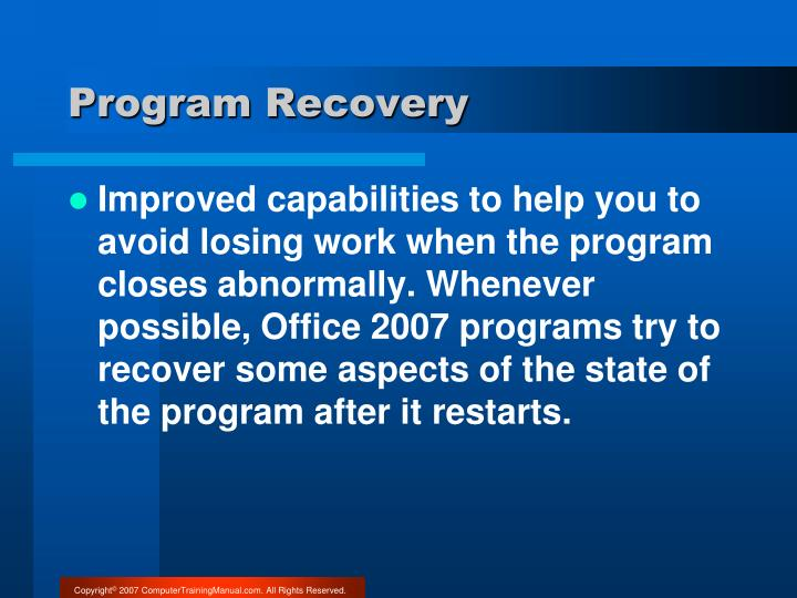 Program Recovery