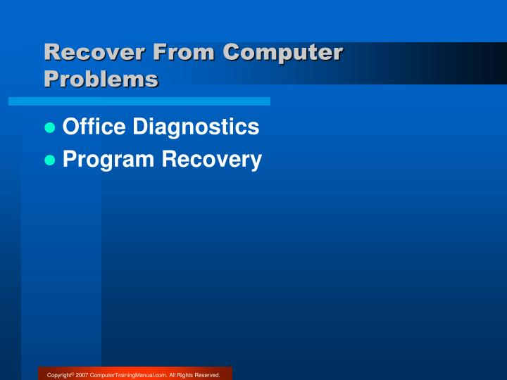 Recover From Computer Problems