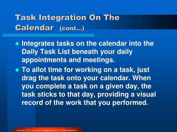 Task Integration On The Calendar