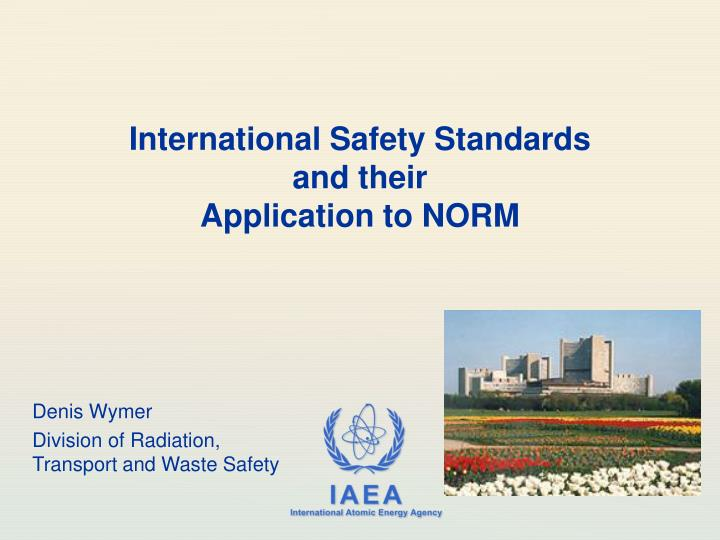 International safety standards and their application to norm