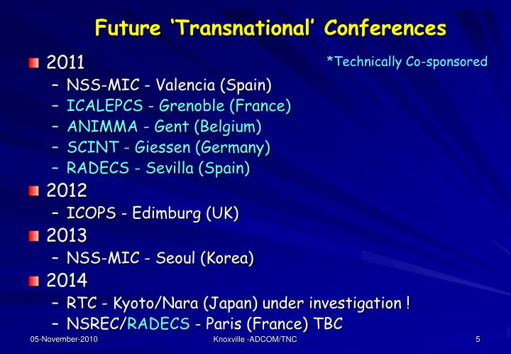 Future 'Transnational' Conferences
