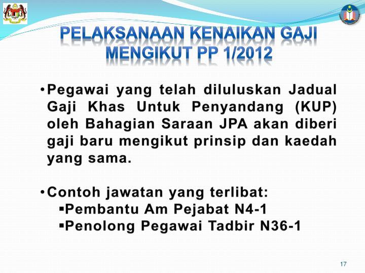 PELAKSANAAN KENAIKAN GAJI MENGIKUT PP 1/2012