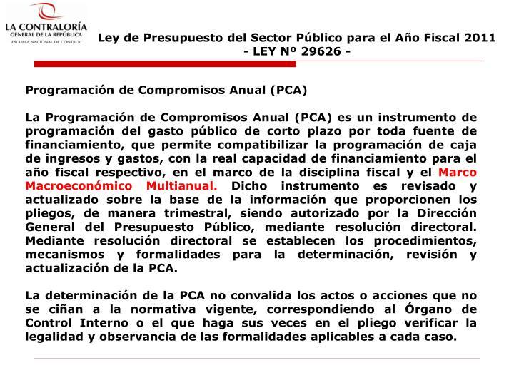 Ley de Presupuesto del Sector Público para el Año Fiscal 2011