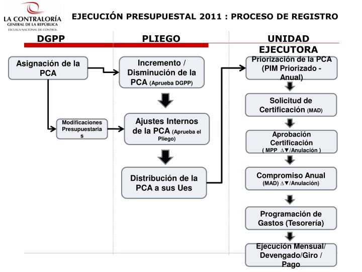 EJECUCIÓN PRESUPUESTAL 2011 : PROCESO DE REGISTRO