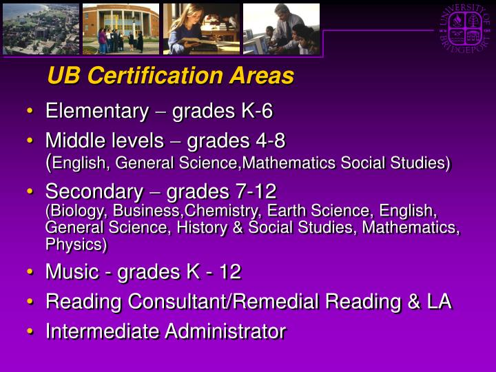 UB Certification Areas