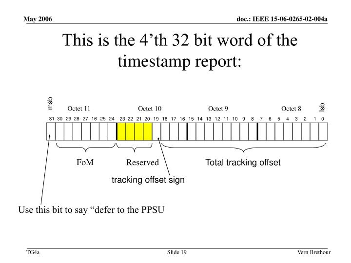 This is the 4'th 32 bit word of the timestamp report: