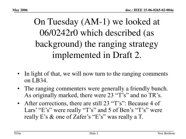 On Tuesday (AM-1) we looked at 06/0242r0 which described (as background) the ranging strategy implemented in Draft 2.