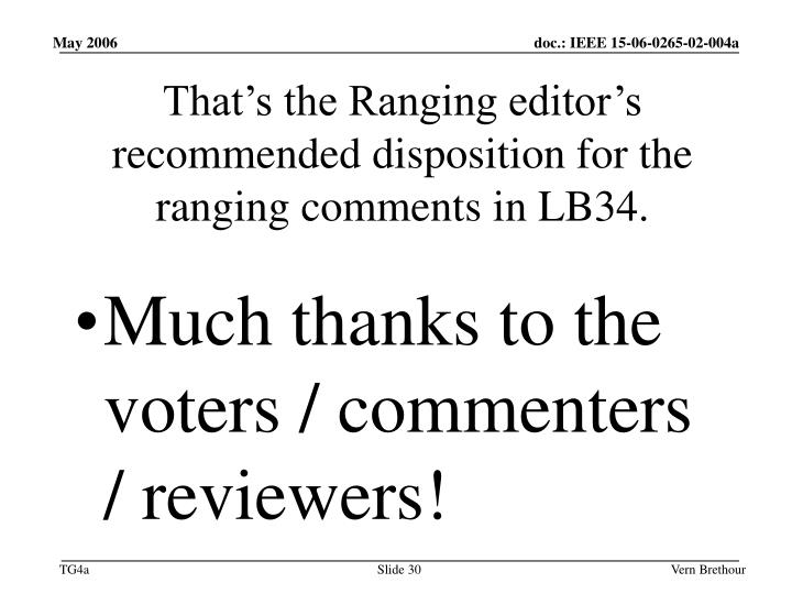 That's the Ranging editor's recommended disposition for the ranging comments in LB34.