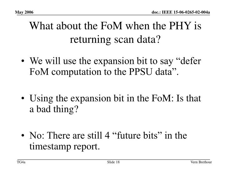 What about the FoM when the PHY is returning scan data?