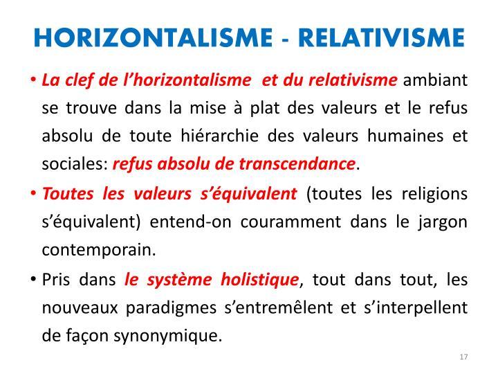 HORIZONTALISME - RELATIVISME