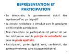 repr sentation et participation