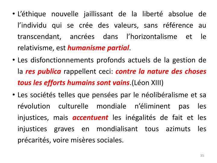 L'éthique nouvelle jaillissant de la liberté absolue de l'individu qui se crée des valeurs, sans référence au transcendant, ancrées dans l'horizontalisme et le relativisme, est