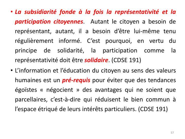 La subsidiarité fonde à la fois la représentativité et la participation citoyennes