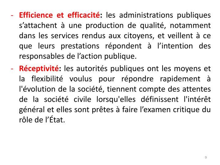 Efficience et efficacité