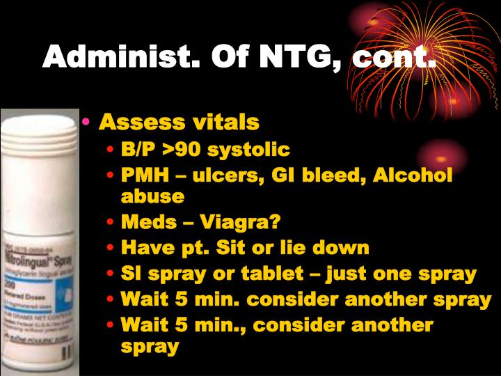 Administ. Of NTG, cont.