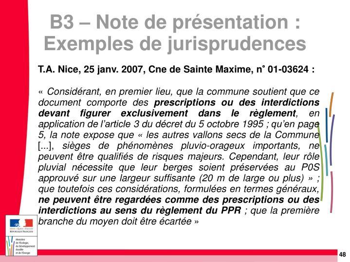 T.A. Nice, 25 janv. 2007, Cne de Sainte Maxime, n° 01-03624: