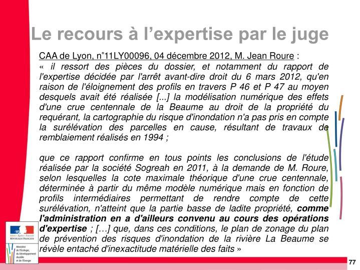 CAA de Lyon, n°11LY00096, 04 décembre 2012, M. Jean Roure