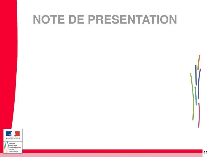 NOTE DE PRESENTATION