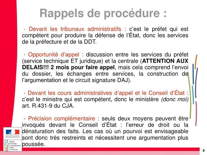 - Devant les tribunaux administratifs: