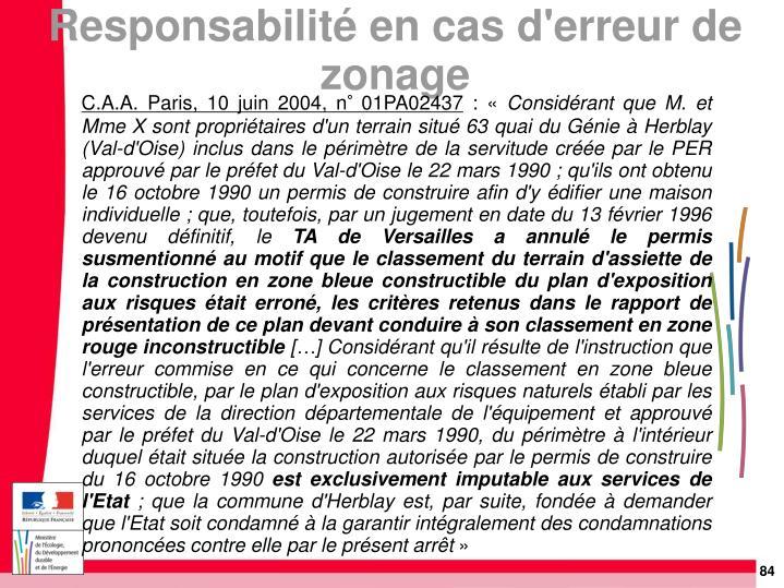 C.A.A. Paris, 10 juin 2004, n° 01PA02437