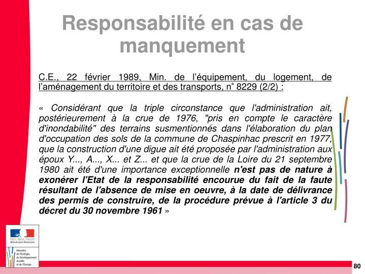 C.E., 22 février 1989, Min. de l'équipement, du logement, de l'aménagement du territoire et des transports, n° 8229 (2/2):