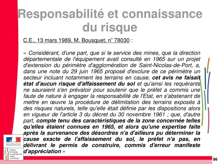 C.E., 13 mars 1989, M. Bousquet, n° 78030