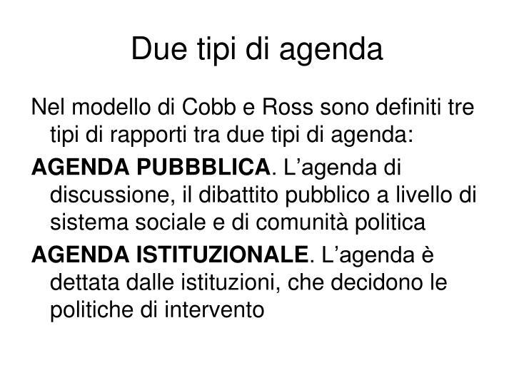 Due tipi di agenda