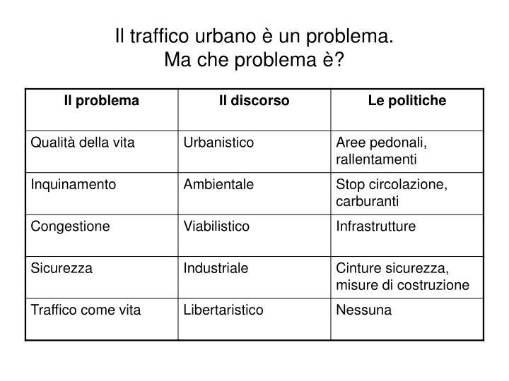 Il traffico urbano è un problema.