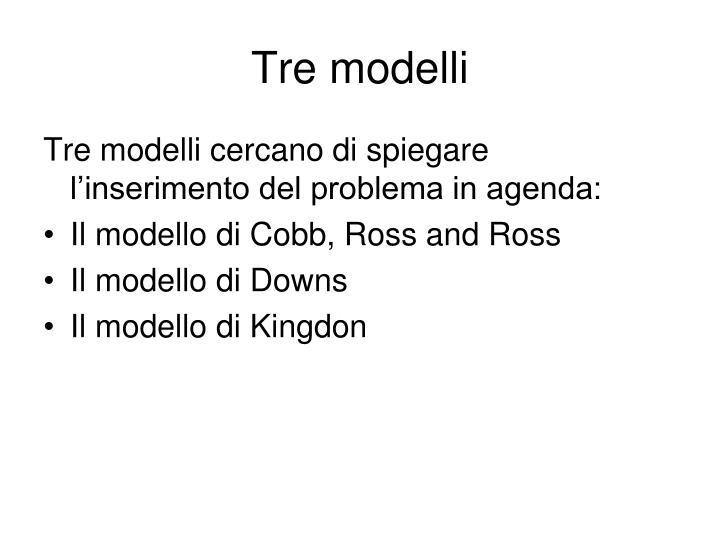 Tre modelli