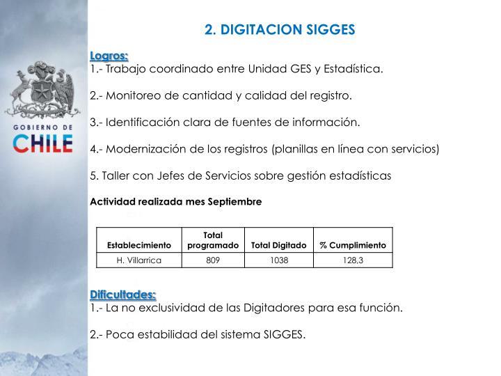 2. DIGITACION SIGGES