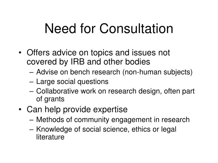 Need for Consultation