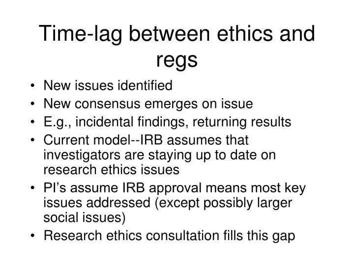 Time-lag between ethics and regs