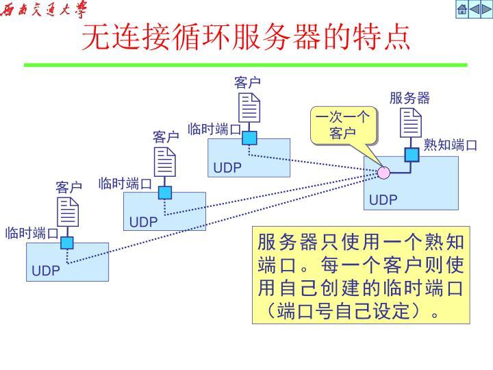 无连接循环服务器的特点