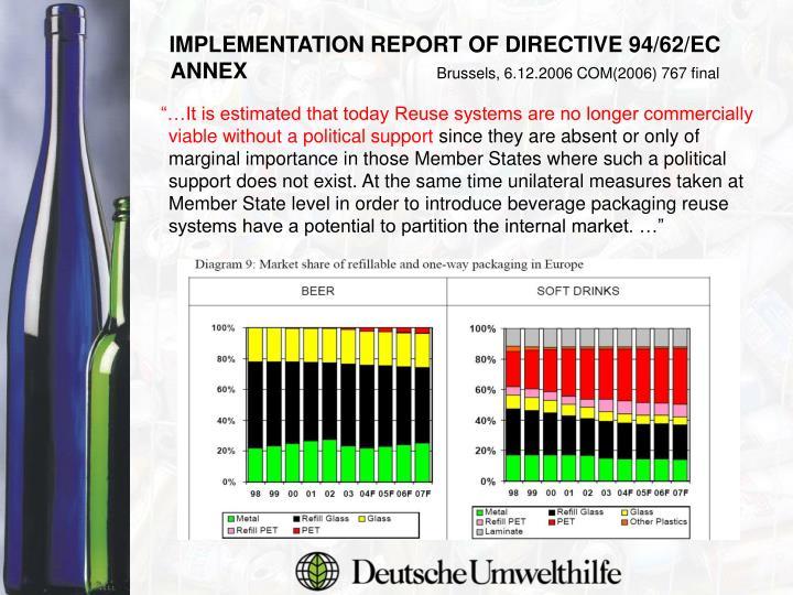IMPLEMENTATION REPORT OF DIRECTIVE 94/62/EC