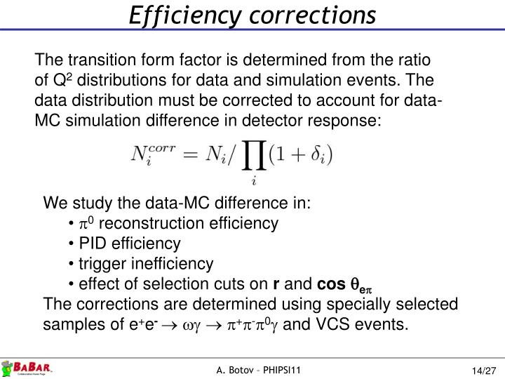 Efficiency corrections