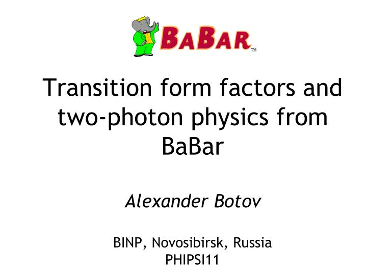 Transition form factors and two-photon physics from BaBar