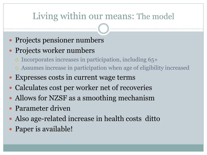 Living within our means: