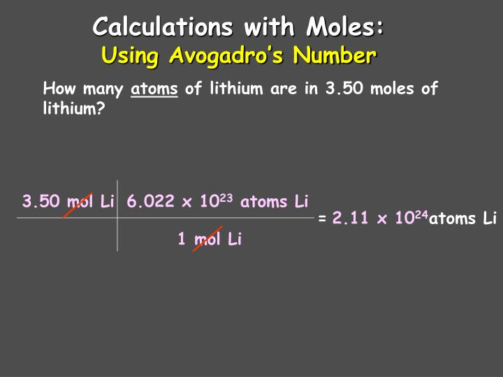 Calculations with Moles: