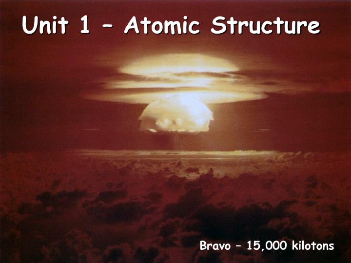 Unit 1 atomic structure