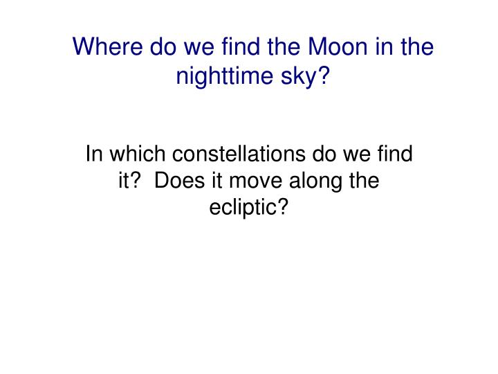 Where do we find the Moon in the nighttime sky?