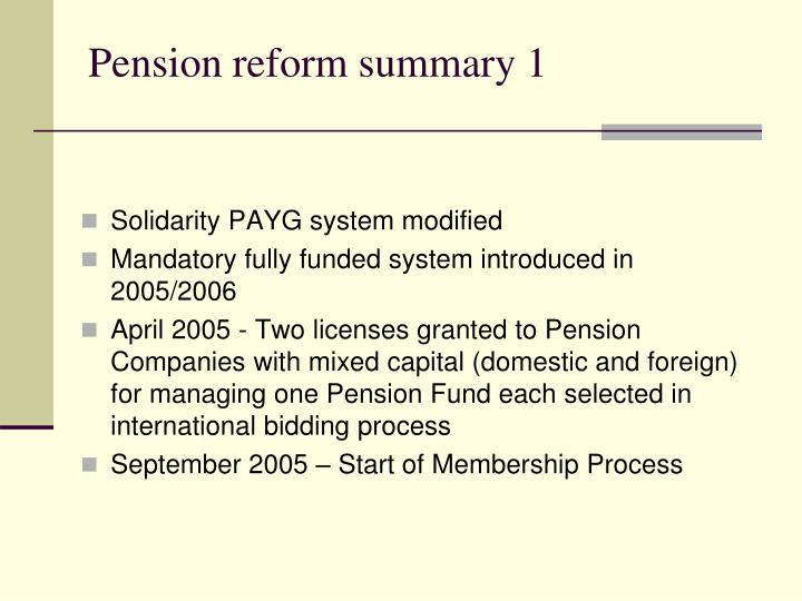 Pension reform summary 1