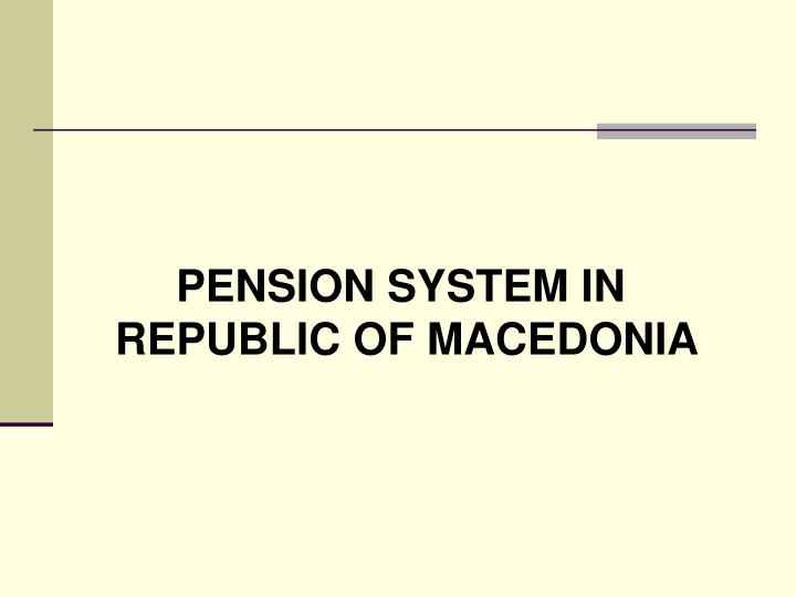 PENSION SYSTEM IN
