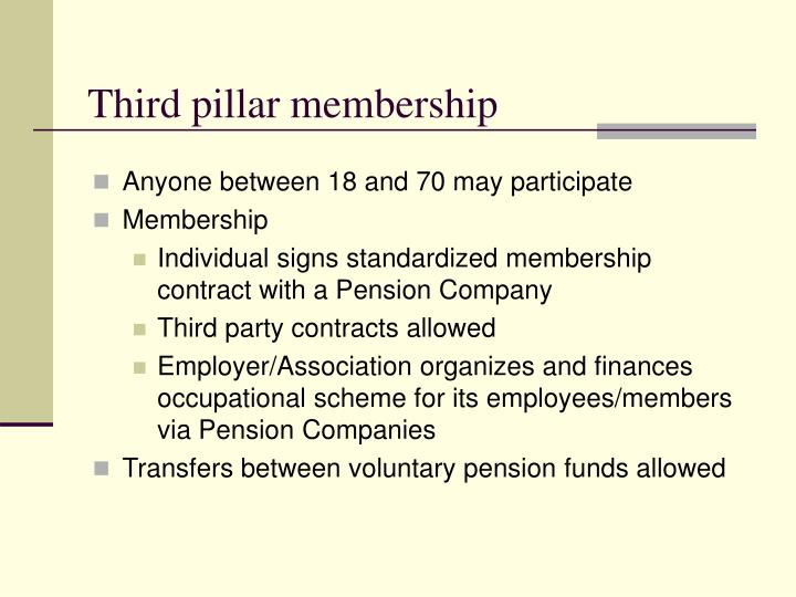 Third pillar membership