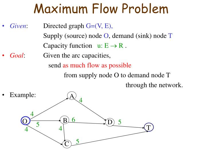 Maximum flow problem