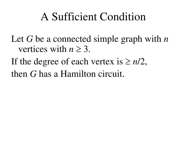 A Sufficient Condition