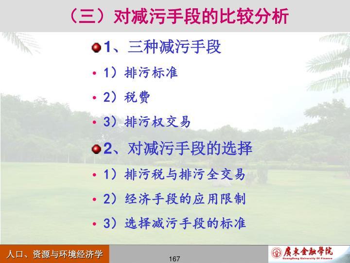 (三)对减污手段的比较分析