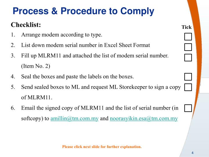 Process & Procedure to Comply